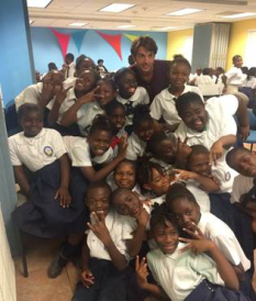 Dr. Chapman and grade 5 students from Eva Hilton Primary