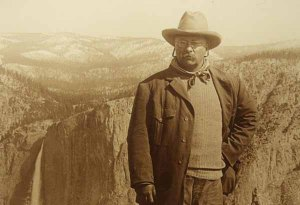 Perhaps the most famous conservation portrait of Theodore Roosevelt, taken at Glacier Point, Yosemite, 1903.