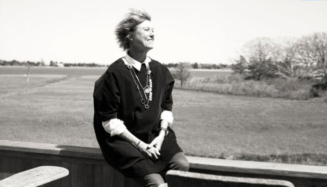 Edwina von Gal on her deck overlooking wetlands in Accabonac Harbor. Photo by David Harry Stewart/AGEIST.